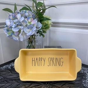 "Rae Dunn, Loaf Dish Yellow, ""HAPPY SPRING"""""